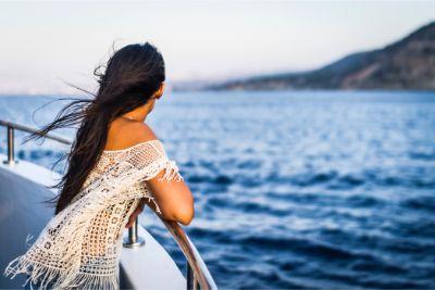 Woman on cruise ship