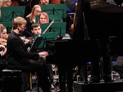 Luke Jones at the grand piano