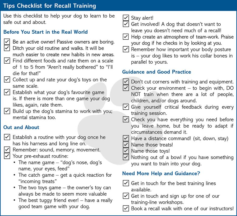 Dog recall tips checklist