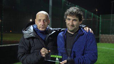 Bellevue FC - Mickey Thomas presents Delwyn Derrick with an award