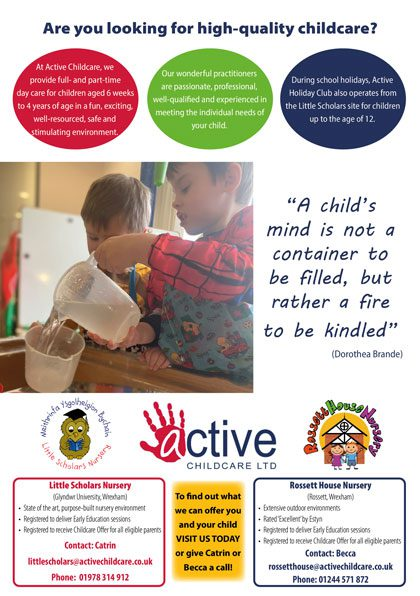 Active Childcare advert April 2021